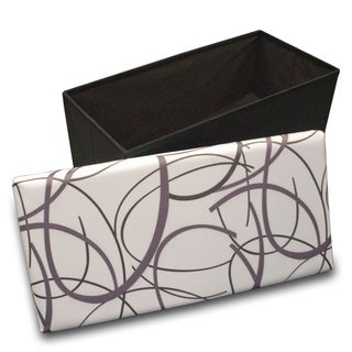 Crown Comfort's Black and Purple Swirl Design on White Memory Foam Folding Ottoman