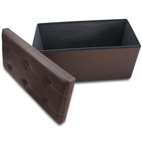 Brown Button Tufted Memory Foam Folding Ottoman - Crown Comfort