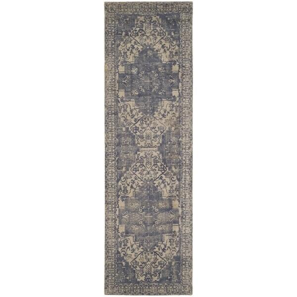 Safavieh Handmade Restoration Vintage Oriental Blue/ Grey Wool Rug (2' 3 x 8')