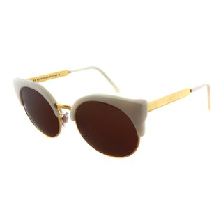 Super Ilaria Trintarella 3C7 Off-White And Gold Cat Eye Brown Lens Sunglasses