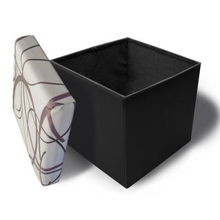 Crown Comfort's Purple and Black Swirl on White Background with Black Base Memory Foam Ottoman