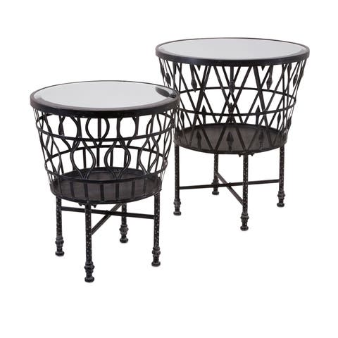 Zaria Drum Mirror Accent Tables (Set of 2)