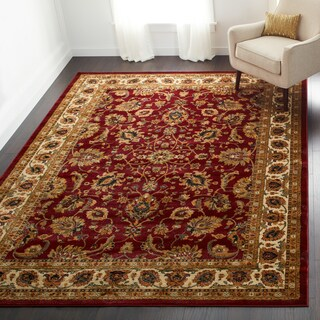 Oriental Floral Stain-resistant Area Rug - 7'8 x 10'4 (Option: Red/Multi)