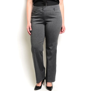 Shop the Trends Women's Plus-size Stretch-knit Slacks With Mid-rise Waist and Double-button Closure