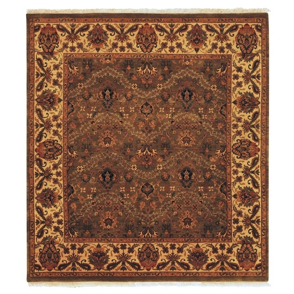 Exquisite Rugs Agra Olive / Gold New Zealand Wool Rug (14' x 18')