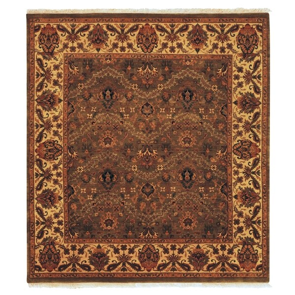 Exquisite Rugs Agra Olive / Gold New Zealand Wool Rug - 14' x 18'