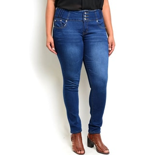 Shop the Trends Women's Plus-size Indigo Wash-denim Pants