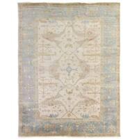 Exquisite Rugs Turkish Oushak Ivory / Blue New Zealand Wool Rug (14' x 18')