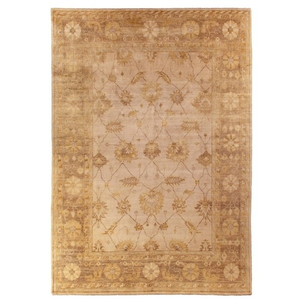 Exquisite Rugs Turkish Oushak Light Blue / Light Brown New Zealand Wool Rug (12' x 15')