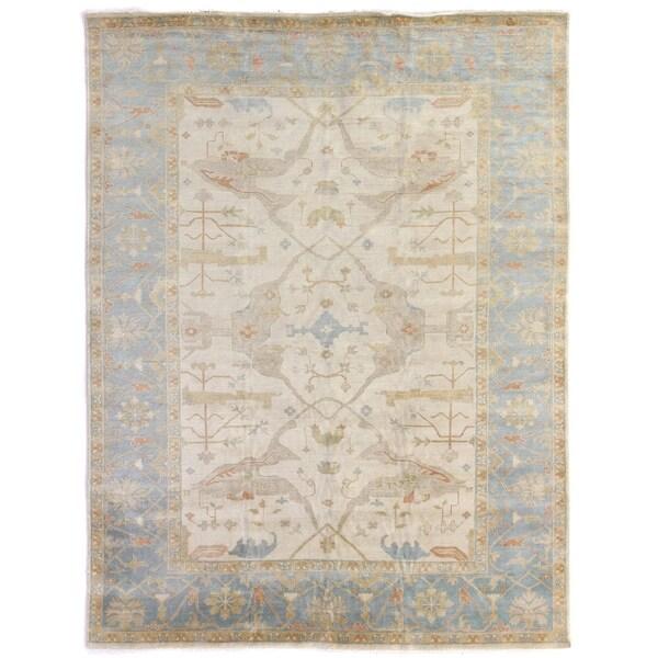 Exquisite Rugs Turkish Oushak Ivory / Blue New Zealand Wool Rug (15' x 20')