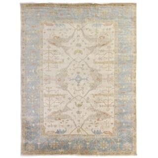 Turkish Oushak Ivory / Blue New Zealand Wool Rug (15' x 20')