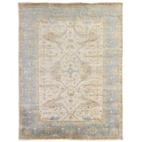Exquisite Rugs Turkish Oushak Ivory / Blue New Zealand Wool Rug - 12' x 15'
