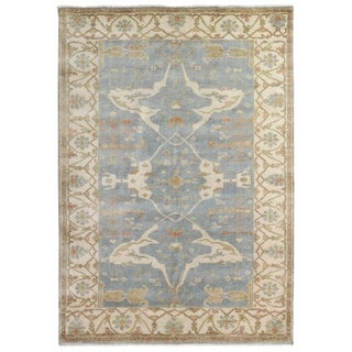 Exquisite Rugs Turkish Oushak Blue / Ivory New Zealand Wool Rug (14' x 18')