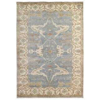 Turkish Oushak Blue / Ivory Extra-large New Zealand Wool Rug (15' x 20')