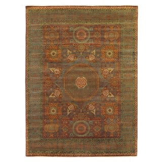 Tabriz Rust and Green New Zealand Wool Rug (14'7 x 19'2)