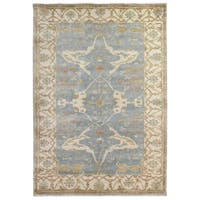 Exquisite Rugs Turkish Oushak Blue / Ivory New Zealand Wool Rug (12' x 15')