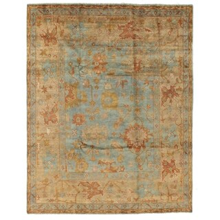 Turkish Oushak Blue / Beige New Zealand Wool Rug (14' x 18')