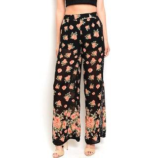 Shop the Trends Women's Multicolored Floral-print High-waist Pants