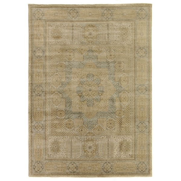 Exquisite Rugs Tabriz Pale Gold / Grey New Zealand Wool Rug - 12' x 15'