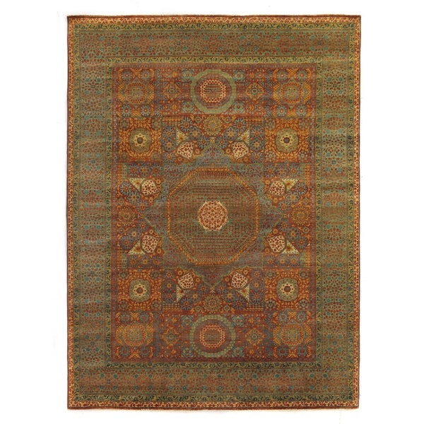 Exquisite Rugs Tabriz Rust / Green New Zealand Wool Rug - 12' x 15'