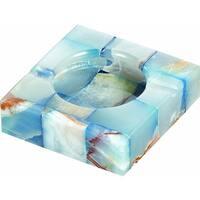 Visol Sugilite White and Blue Onyx Stone Cigarette Ashtray with 2 Cigarette Rests