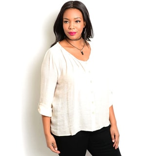 Shop the Trends Women's Plus-size 3/4 Folded-sleeve Woven Button-down Top