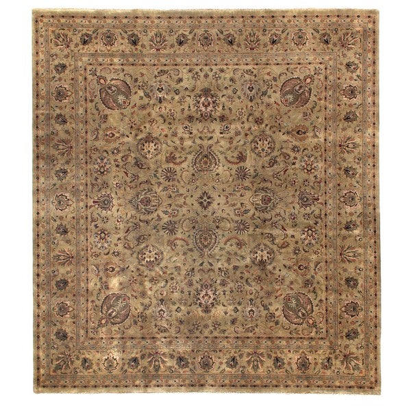 Exquisite Rugs Tabriz Green New Zealand Wool Rug - 14' x 18'