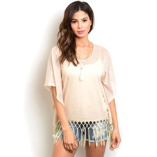 Shop the Trends Women's 3/4 Batwing Sleeve Sheer Knit Top With Round Neckline and Tasseled Trim on Hem
