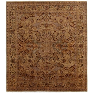 Exquisite Rugs Tabriz Gold / Green New Zealand Wool Rug (14' x 18')