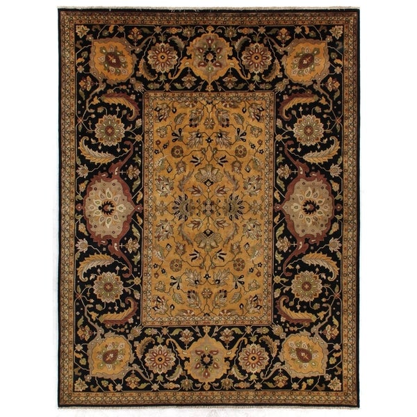 Exquisite Rugs Tabriz Gold / Black Hand-spun New Zealand Wool Rug (12'6 x 15'6)
