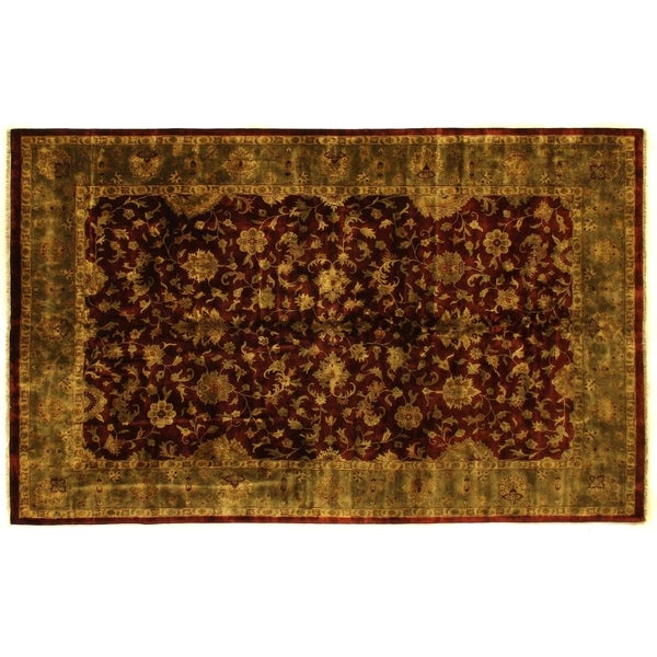 Exquisite Rugs Super Kashan Maroon / Green New Zealand Wool Rug - 10' x 16'