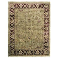 Exquisite Rugs Super Kashan Green / Maroon New Zealand Wool Rug - 12' x 16'