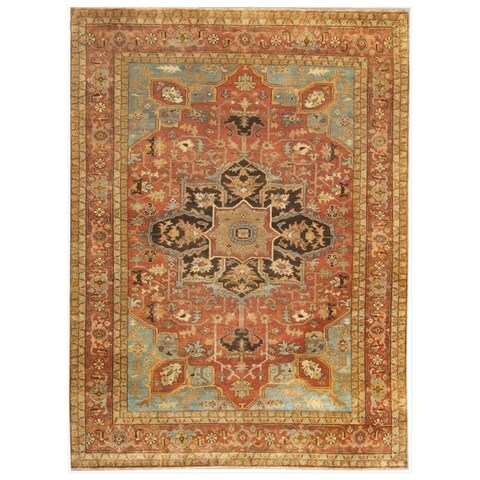 Exquisite Rugs Serapi Rust / Sky New Zealand Wool Rug - 12' x 15'