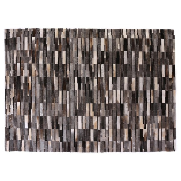 Exquisite Rugs Stitched Blocks Grey Leather Hair-on Hide Rug (13'6 x 17'6)