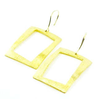 Betty Carre 18k Gold Overlay Rectangular Earrings