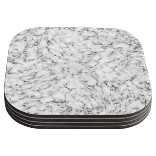 Will Wild 'Marble' White Gray Coasters (Set of 4)