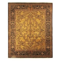 Exquisite Rugs Mohajeran Sarouk Gold / Black New Zealand Wool Rug - 14' x 18'