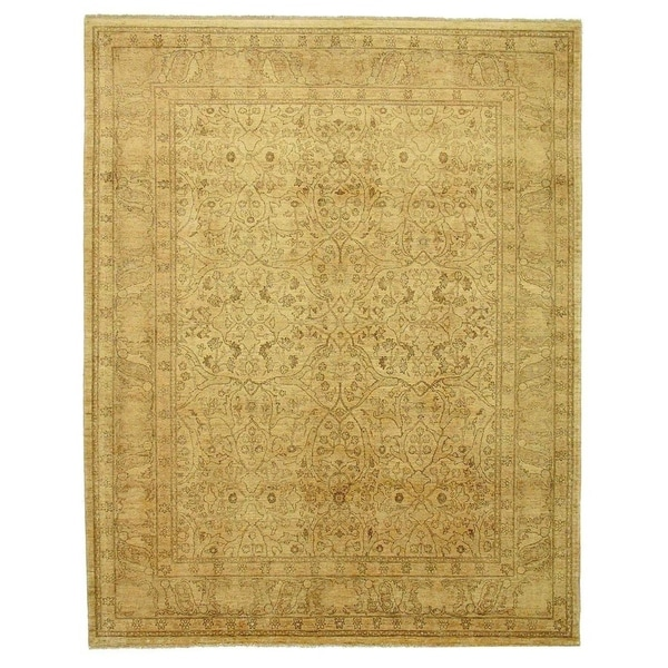 Exquisite Rugs Millefleur Black / Light Green Hand-spun Wool Rug (15'6 x 24'6)