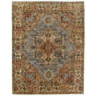 Serapi Light Blue / Ivory New Zealand Wool Rug (12' x 15')