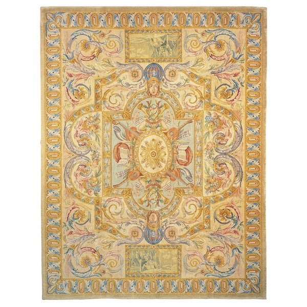 Exquisite Rugs Savonnerie Cream Hand-spun hand-carded Wool Rug (14' x 20') - 14' x 20'