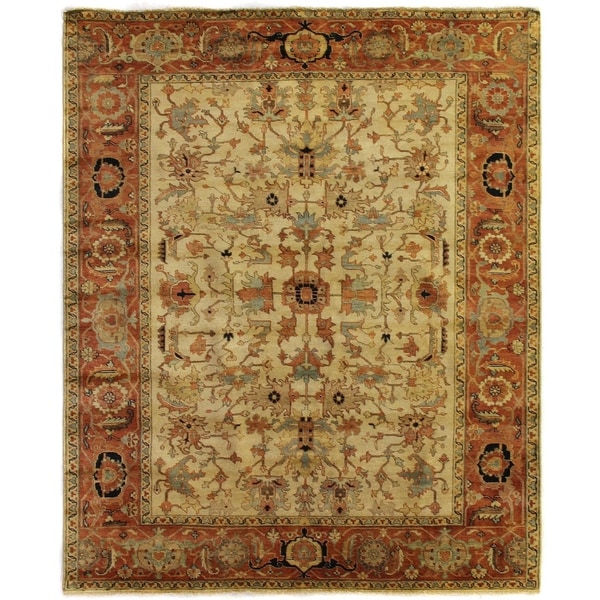 Exquisite Rugs Serapi Ivory / Red New Zealand Wool Rug - 14' x 18'