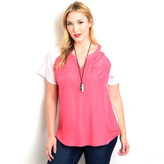 Shop the Trends Women's Plus-size Short-sleeve Combination Top