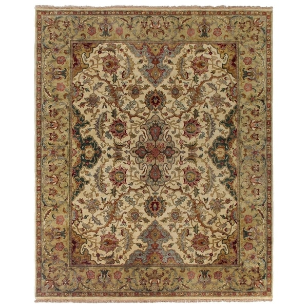 Exquisite Rugs European Polonaise Ivory / Sage New Zealand Wool Rug (14' x 18')
