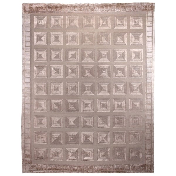 Exquisite Rugs Milano Beige New Zealand Wool and Silk Rug - 12' x 15'