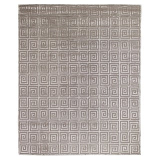 Exquisite Rugs Greek Key Silver New Zealand Wool and Silk Rug - 12' x 15'