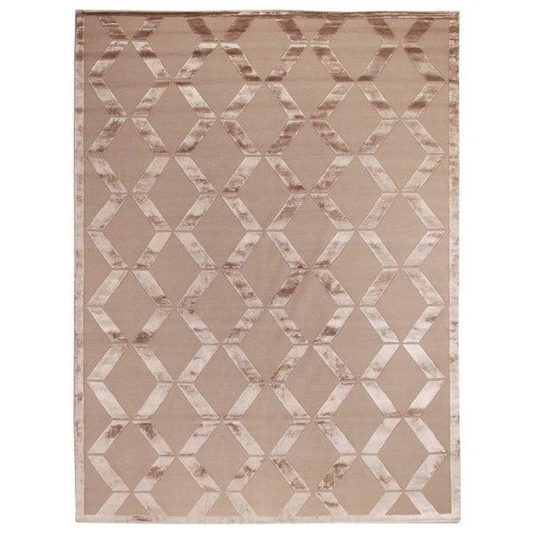 Exquisite Rugs Metro Velvet Beige New Zealand Wool and Silk Rug - 12' x 15'