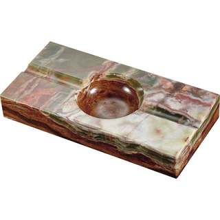 Visol Azure Light Olive and Brown Rectangle Onyx Stone Cigar Ashtray with 2 Cigar Rests