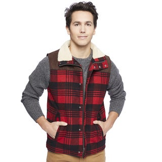 Lucky Brand Men's Buffalo Plaid Half Sherpa Lined Vest