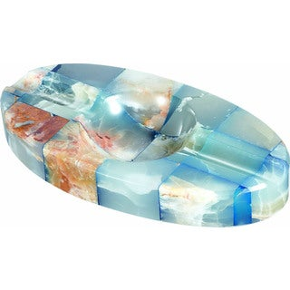 Visol Azure Onyx Oval Cigar Ashtray with 2 Cigar Rests