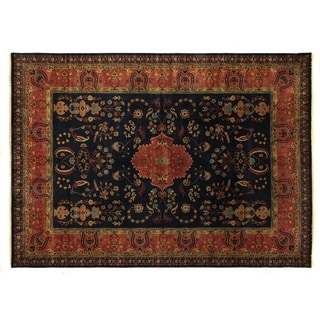 Mohajeran Red / Navy New Zealand Wool Round Rug (8')